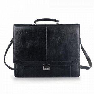"""Портфель """"Бизнес"""", 41х34х10 см, искусственная кожа, 3 отделения, замок с ключом, черный, 309"""