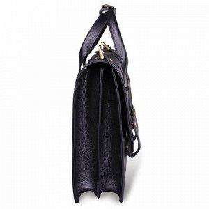 Портфель из натуральной кожи, 33х25х8 см, 2 отделения, 2 застежки с кнопкой, черный, 1-043