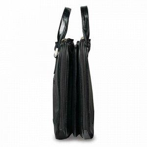 Портфель-сумка женский, 38х27х10 см, 2 отделения, на молнии, искусственная кожа, черный, 8-100