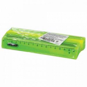 Линейка пластиковая 16 см, ПИФАГОР, непрозрачная, неоновая, ассорти, 210603