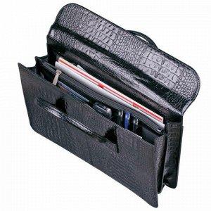 Портфель-сумка женский из натуральной кожи, 38х28х8 см, под крокодила, 2 отдела, клапан с магнитом, черный, 8-095