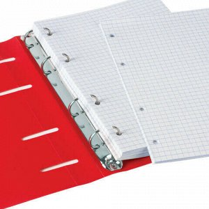 "Тетрадь на кольцах А5 (160х215 мм), 80 л., пластиковая обложка, клетка, BRAUBERG, ""Красный"", 403252"