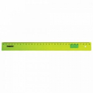 Линейка пластиковая 30 см, ПИФАГОР, прозрачная, неоновая, ассорти, 210609