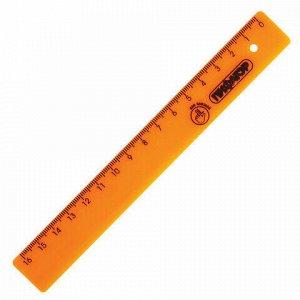 Линейка пластик 16 см ПИФАГОР, неоновая, ассорти, для левшей, 210615