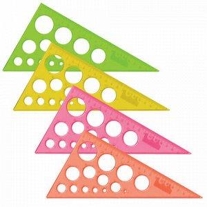 Треугольник пластиковый, угол 30, 19 см, BRAUBERG, с окружностями, прозрачный, неоновый, ассорти, 210619