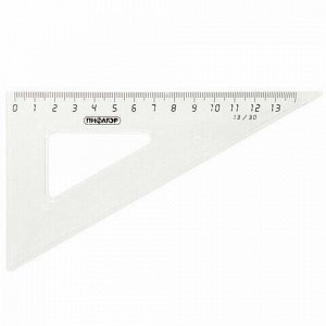 Набор чертежный средний ПИФАГОР (линейка 20 см, 2 треугольника, транспортир), прозрачный, бесцветный, пакет, 210627