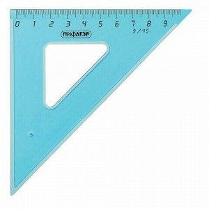 Набор чертежный средний ПИФАГОР (линейка 20 см, 2 треугольника, транспортир), тонированный, европодвес, 210628
