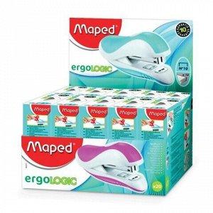 """Степлер №10 MAPED (Франция) """"Ergologic"""", до 15 листов, с контейнером для скоб и антистеплером, ассорти, 352211"""