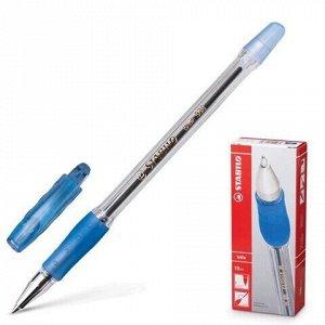 """Ручка шариковая с грипом STABILO """"Bille"""", СИНЯЯ, корпус прозрачный, узел 0,7 мм, линия письма 0,38 мм, 508/41"""