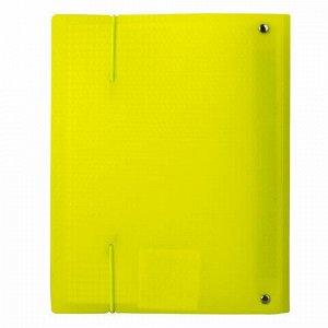 Тетрадь на кольцах А5 (175х220 мм), 120 л., пластиковая обложка, клетка, с фиксирующей резинкой, BRAUBERG, желтая, 403570