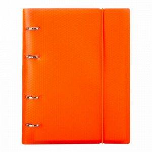 Тетрадь на кольцах А5 (175х220 мм), 120 л., пластиковая обложка, клетка, с фиксирующей резинкой, BRAUBERG, оранжевая, 403571