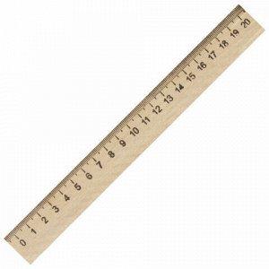 Линейка деревянная 20 см, ПИФАГОР, 210667