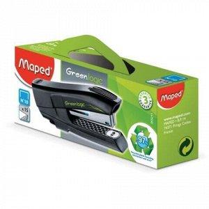 """Степлер №10 MAPED (Франция) """"Greenlogic"""", до 15 листов, с антистеплером, черный, 353211"""