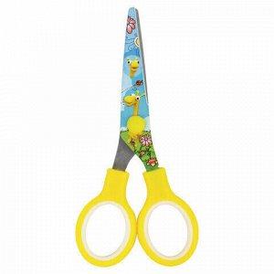 """Ножницы BRAUBERG """"Kid Series"""", 130 мм, жёлтые, с цветной печатью """"Жирафы"""", закругленные, 232269"""