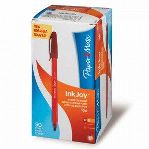 """Ручка шариковая PAPER MATE """"Inkjoy 100"""", КРАСНАЯ, корпус тонированный красный, узел 0,7 мм, линия письма 0,5 мм, S0960910"""
