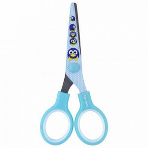 """Ножницы BRAUBERG """"Kid Series"""", 130 мм, голубые, с цветной печатью """"Пингвины"""", закругленные, 232271"""