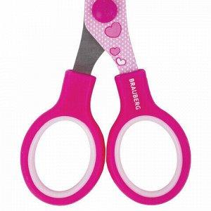 """Ножницы BRAUBERG """"Kid Series"""", 130 мм, розовые, с цветной печатью """"Поросята"""", закругленные, 232272"""