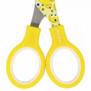 """Ножницы BRAUBERG """"Kid Series"""", 130 мм жёлто-белые с цветной печатью """"Смайлики"""", закругленные, 232274"""