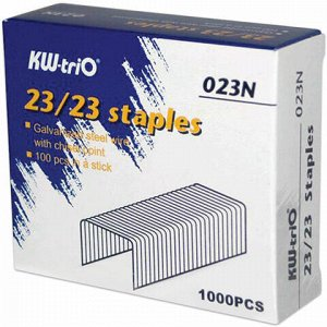 Скобы для степлера №23/23, 1000 штук, KW-trio, от 110 до 200 листов, 023N, -023N