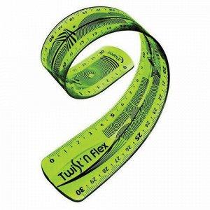 """Линейка пластик 30 см, гибкая, MAPED (Франция) """"Twist'n'Flex"""", тонированная, зеленая, 276310"""