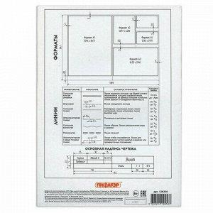 Папка для черчения А4, 210х297 мм, 10 л., 160 г/м2, рамка с горизонтальным штампом, ПИФАГОР, 129230