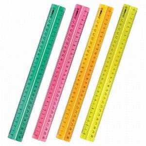 """Линейка пластиковая, 30 см, СТАММ """"Neon Crystal"""", с держателем, неоновая, ассорти, ЛН42"""