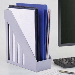 Лоток вертикальный для бумаг, увеличенная ширина (277х100х290 мм), BRAUBERG-MAXI, серый, 231051