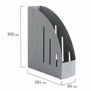 """Лоток вертикальный для бумаг BRAUBERG """"Energy"""" (261х85х300 мм), эргономичная форма, серый, 231548"""