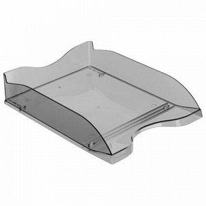 """Лоток горизонтальный для бумаг СТАММ """"Люкс"""", А4 (350х255х70 мм), тонированный серый, ЛТ62"""