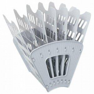 Лоток для бумаг СТАММ, 7-ми секционный, 6 отделений, серый, ЛТ40