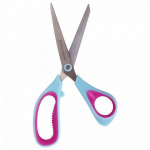 """Ножницы BRAUBERG """"Universal"""", 190 мм бирюзово-фиолетовые, ассиметричные, ребристые резиновые вставки, 236452"""