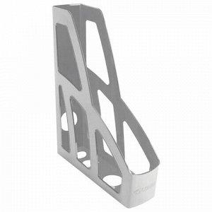 "Лоток вертикальный для бумаг СТАММ ""Лидер"" (250х75х300 мм), серый, ЛТ121"