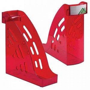 """Лоток вертикальный для бумаг СТАММ """"Торнадо"""" (255х300 мм), ширина 95 мм, тонированный темно-красный, ЛТ407"""