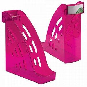 """Лоток вертикальный для бумаг СТАММ """"Торнадо"""" (255х300 мм), ширина 95 мм, тонированный фиолетовый, ЛТ408"""