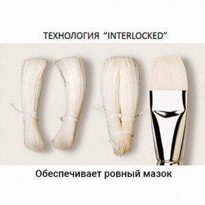 Кисть художественная профессиональная BRAUBERG ART CLASSIC, щетина, плоская, № 6, длинная ручка, 200715