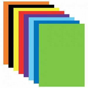 """Цветная бумага А4 мелованная (глянцевая), 16 листов 8 цветов, на скобе, BRAUBERG, 205х290 мм, """"Сказочный город"""", 129784"""