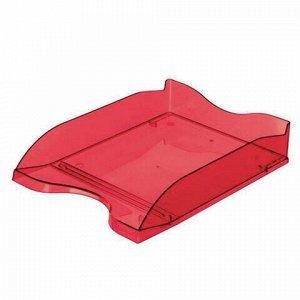 """Лоток горизонтальный для бумаг СТАММ """"Люкс"""", А4 (350х255х70 мм), тонированный темно-красный, ЛТ611"""