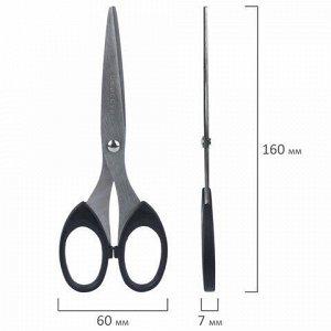 Ножницы ОФИСБУРГ, 160 мм, классической формы, чёрные, 2-х сторонняя заточка, 236932