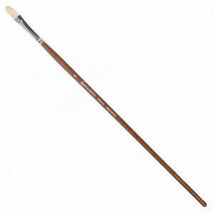 Кисть художественная профессиональная BRAUBERG ART CLASSIC, щетина, овальная, № 8, длинная ручка, 200730