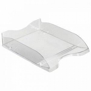"Лоток горизонтальный для бумаг СТАММ ""Люкс"", А4 (350х255х70 мм), прозрачный, ЛТ61"