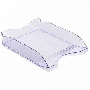 """Лоток горизонтальный для бумаг СТАММ """"Люкс"""", А4 (350х255х70 мм), тонированный голубой, ЛТ63"""