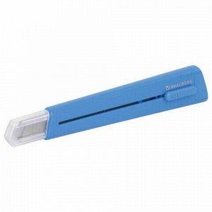 "Нож канцелярский 9 мм BRAUBERG ""Delta"", автофиксатор, цвет корпуса голубой, блистер, 237086"