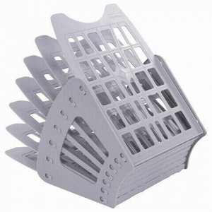 Лоток для бумаг веерный BRAUBERG-SMART, 7-ми секционный, сетчатый, серый, 231144