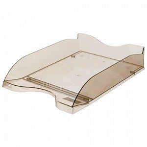 """Лоток горизонтальный для бумаг СТАММ """"Люкс"""", А4 (350х255х70 мм), тонированный коричневый, ЛТ67"""