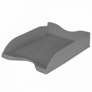 """Лоток горизонтальный для бумаг СТАММ """"Люкс"""", А4 (350х255х70 мм), серый, ЛТ64"""