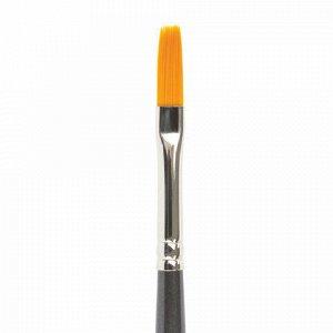 Кисть художественная проф. BRAUBERG ART CLASSIC, синтетика жесткая, плоская, № 6, длинная ручка, 200665