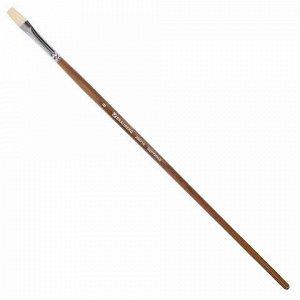 Кисть художественная профессиональная BRAUBERG ART CLASSIC, щетина, плоская, № 8, длинная ручка, 200716