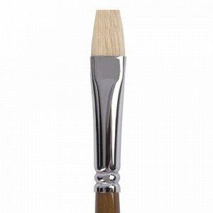 Кисть художественная профессиональная BRAUBERG ART CLASSIC, щетина, плоская, № 10, длинная ручка, 200717