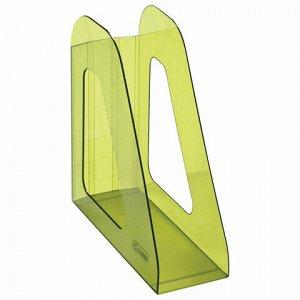 """Лоток вертикальный для бумаг СТАММ """"Фаворит"""" (235х240 мм), ширина 90 мм, тонированный зеленый, ЛТ707"""