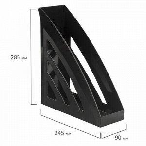 """Лоток вертикальный для бумаг BRAUBERG """"Office style"""", 245х90х285 мм, черный, 237278"""